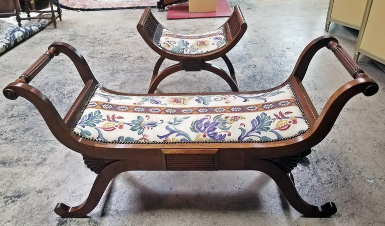 Pair of Empire Style Bedroom Scroll End Bench Seats For Sale 11