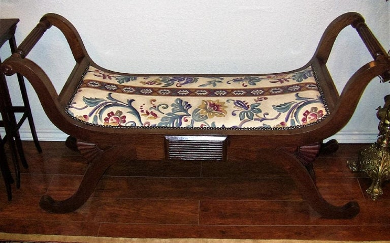 French Pair of Empire Style Bedroom Scroll End Bench Seats For Sale