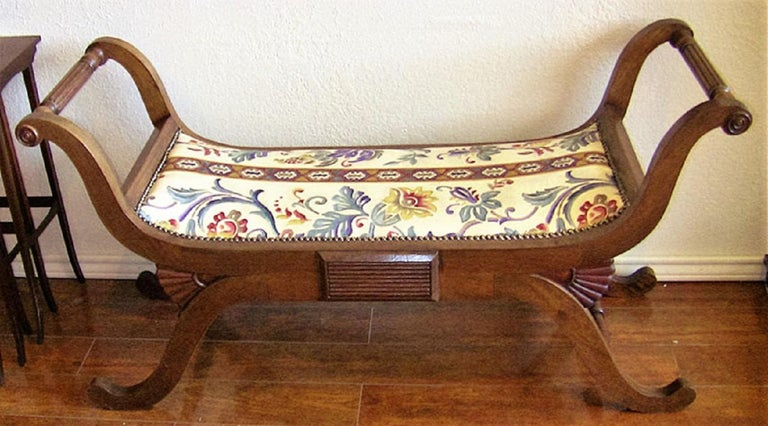Walnut Pair of Empire Style Bedroom Scroll End Bench Seats For Sale