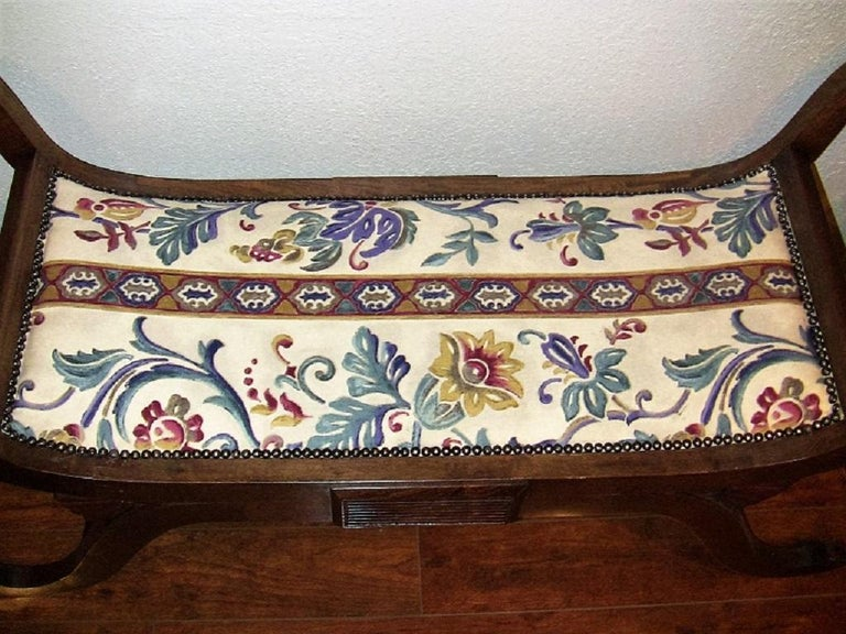 Pair of Empire Style Bedroom Scroll End Bench Seats For Sale 1