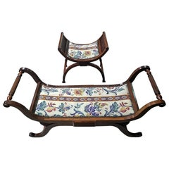 Pair of Empire Style Bedroom Scroll End Bench Seats