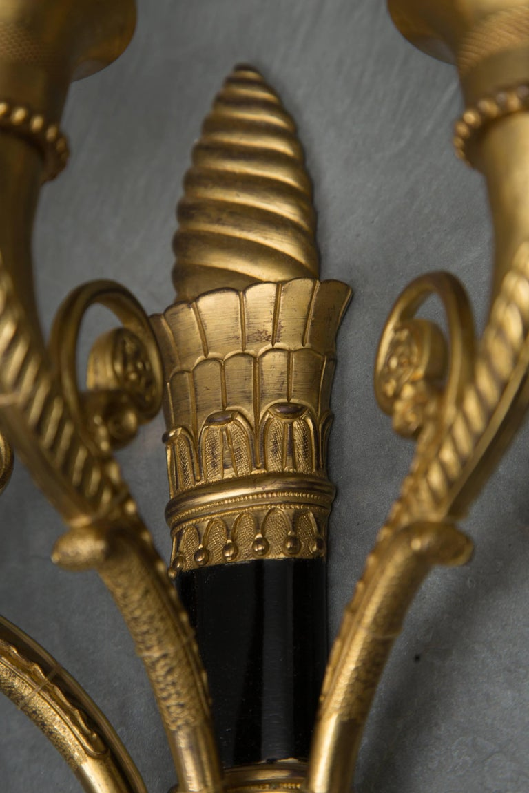 French Pair of Empire Style Brass and Ebonized Sconces For Sale