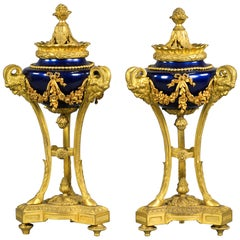 Pair of Empire Style Bronze and Iridescent Glazed Cassolettes, circa 1875