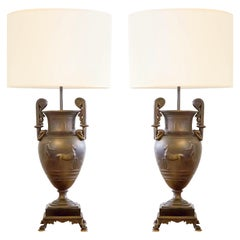 Pair of Empire Style Bronze Lamps