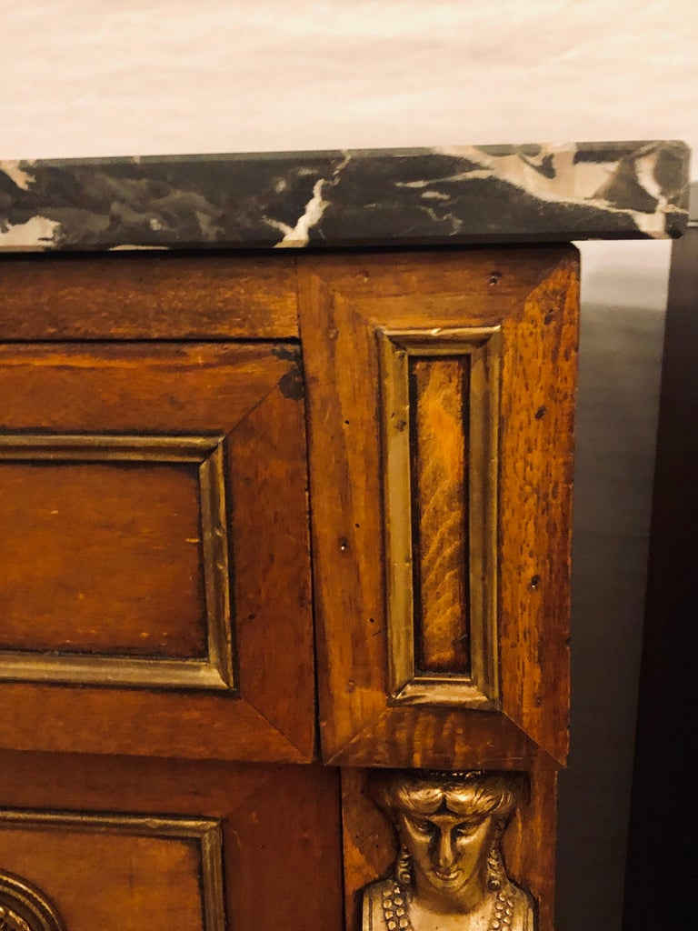 Pair of Empire Style Bronze Mounted Commodes or Nightstands or End Tables For Sale 7