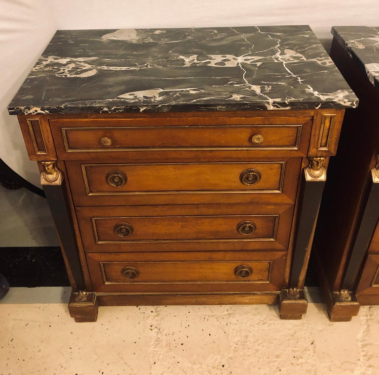 20th Century Pair of Empire Style Bronze Mounted Commodes or Nightstands or End Tables For Sale