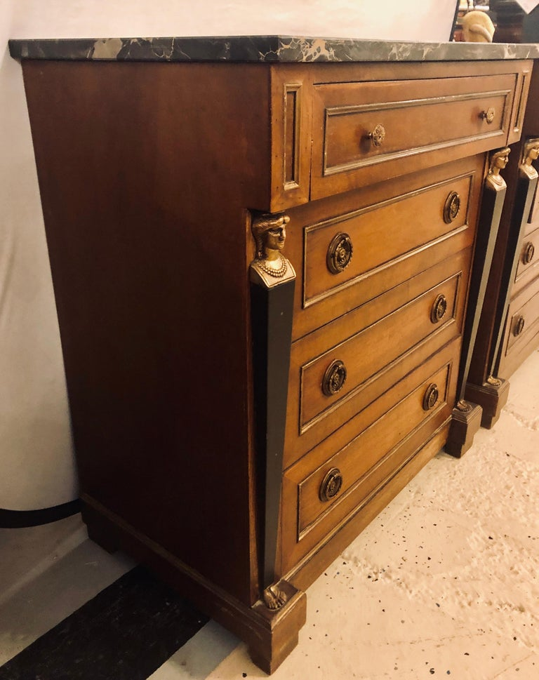 Pair of Empire Style Bronze Mounted Commodes or Nightstands or End Tables For Sale 2