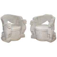 Pair of Empire Style Carved Marble Chairs
