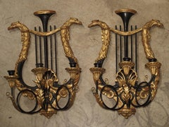 Pair of Empire Style Carved Wood and Metal Sconces from Italy