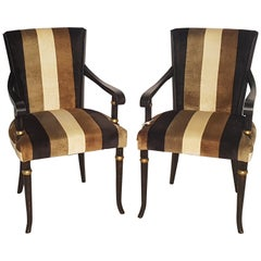 Pair of Empire Style Chairs in Black and Gold