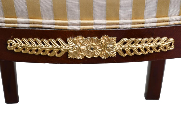 Pair of Empire-Style Chairs in Mahogany with Bronze Doré Ormolu, France For Sale 7