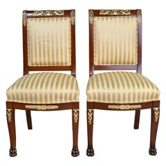Empire-Style Chairs in Mahogany with Bronze Doré Ormolu, France circa 1915, Pair