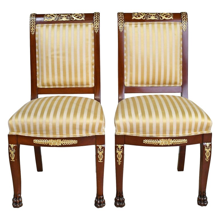 Pair of Empire-Style Chairs in Mahogany with Bronze Doré Ormolu, France For Sale 3