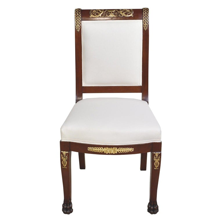 Pair of Empire-Style Chairs in Mahogany with Bronze Doré Ormolu, France For Sale