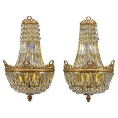 Pair of Empire Style Crystal Glass and Brass Sconces by Palwa, Germany, 1960s