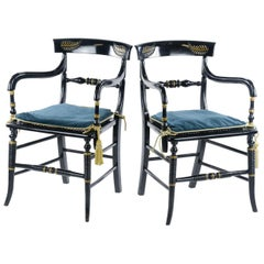 Pair of Empire Style Elbow Chairs