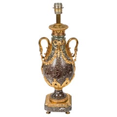 Pair of Empire Style Gilt Bronze and Levanto Marble Lamps