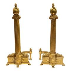 Pair of Empire Style Gilt Bronze Columnar Form Andirons