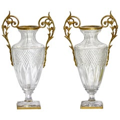 Pair of Empire Style Gilt-Bronze Mounted Cut Glass Urns