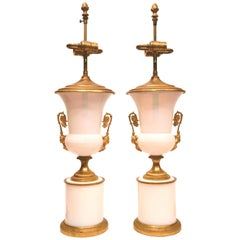 Pair of Empire Style Gilt Bronze Mounted White Opaline Glass Table Lamps