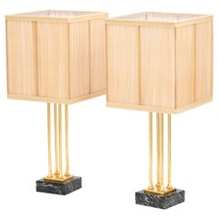 Pair of Empire Style Lamps in Gilt Bronze and Marble, 1970s