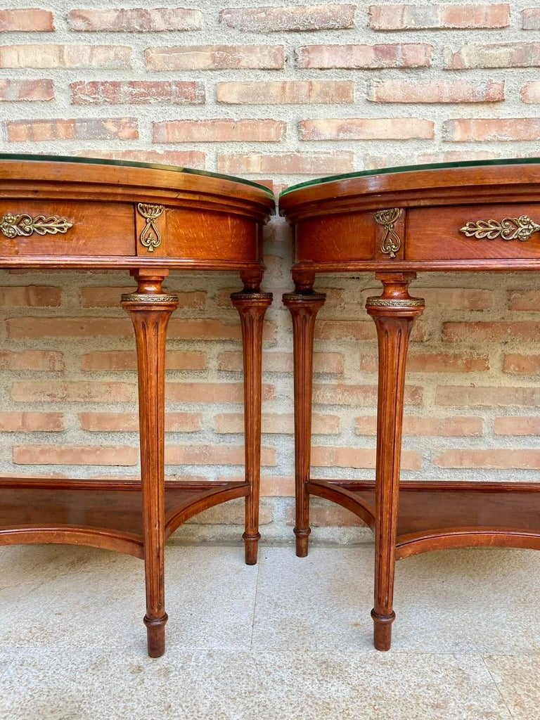 Pair of Empire Style Mahogany Wood Nightstands, 1930s For Sale 5