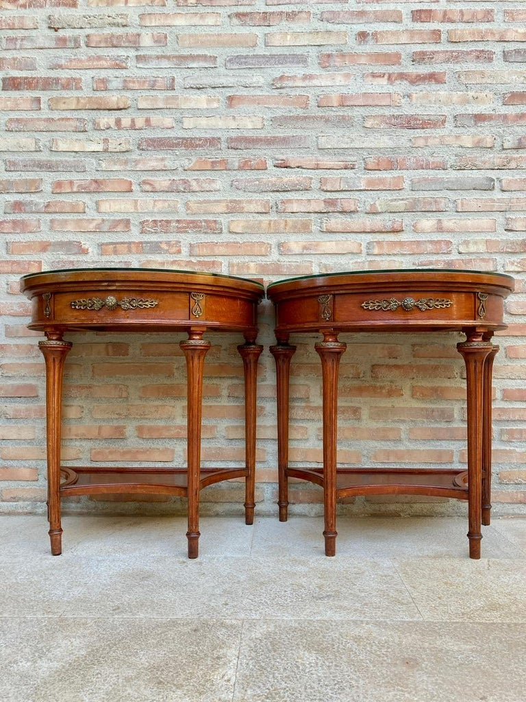French Pair of Empire Style Mahogany Wood Nightstands, 1930s For Sale