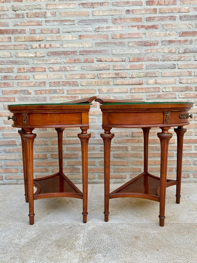 Pair of Empire Style Mahogany Wood Nightstands, 1930s In Good Condition For Sale In Miami, FL