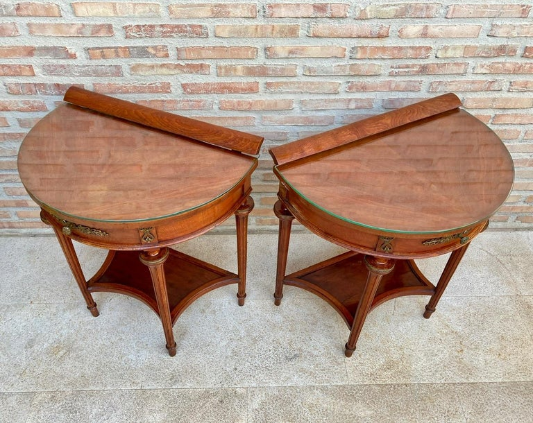 Bronze Pair of Empire Style Mahogany Wood Nightstands, 1930s For Sale