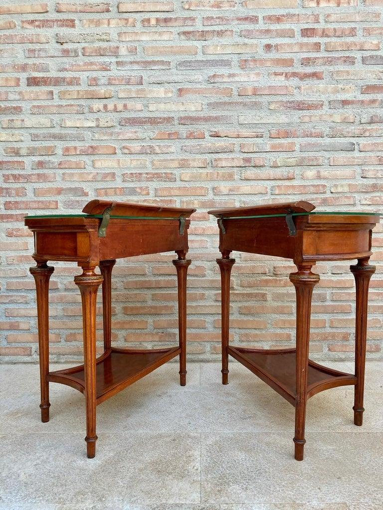 Pair of Empire Style Mahogany Wood Nightstands, 1930s For Sale 1