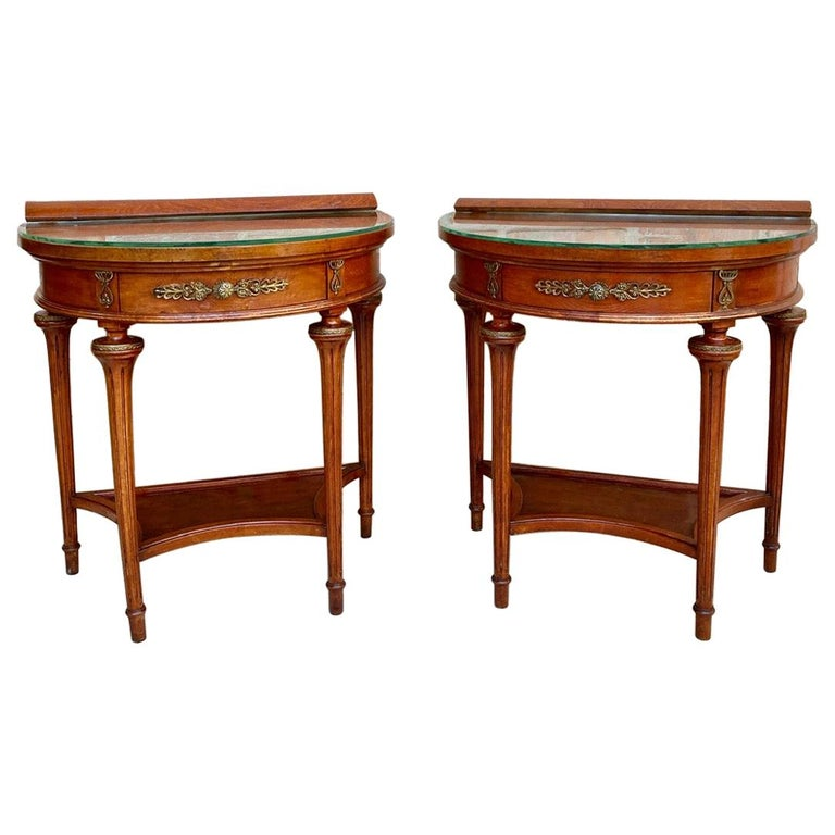 Pair of Empire Style Mahogany Wood Nightstands, 1930s For Sale
