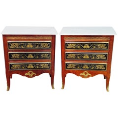 Pair of French Empire Style Marble Top Nightstands Commodes