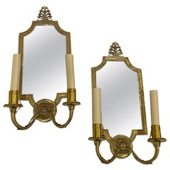 Pair of Empire Style Mirrored Sconces