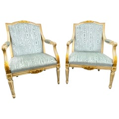 Pair of Empire Style Open Armchairs Blue Fabric, Chippy White and Gold, 1950s