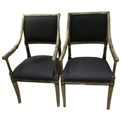 Pair of Empire Style Parcel-Gilt Armchairs with Black Upholstery