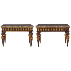 Pair of Empire Style Parcel-Gilt Metal Console Tables
