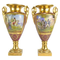 Pair of Empire Style Porcelain Vases Representing War Scenes with Napoleon