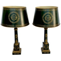 Pair of Empire Style Tole Lamps