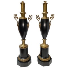 Pair of Empire Tole and Bronze Table Lamps