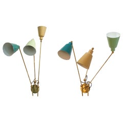 Pair of Enamel and Brass Wall Sconces by Fedele Papagni