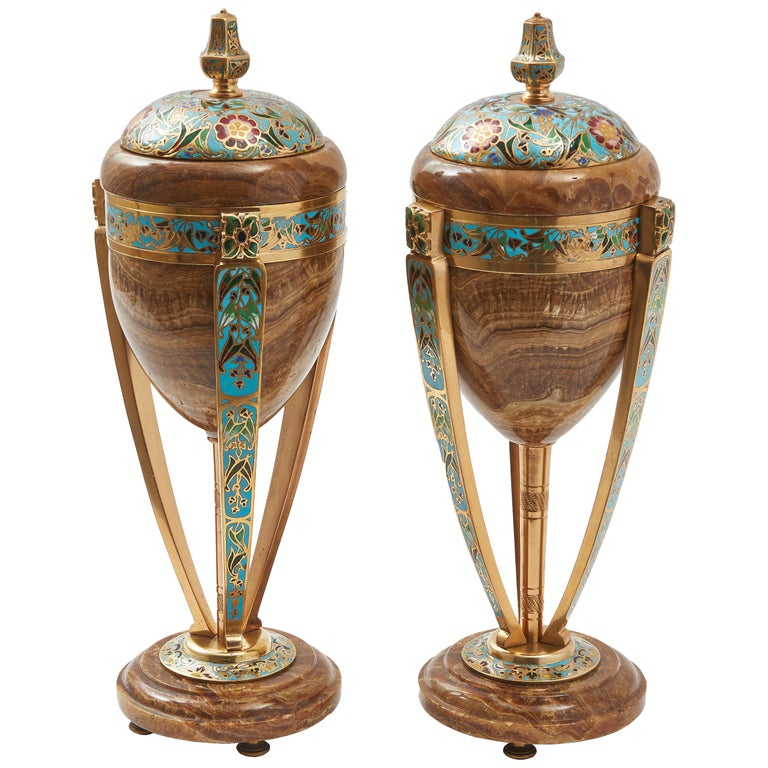 Pair of Enamel and Onyx Art Nouveau French Urns, circa 1890 For Sale