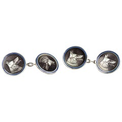 Enamel and Silver Cufflinks of German Shepherd Dogs Heads, German circa 1900