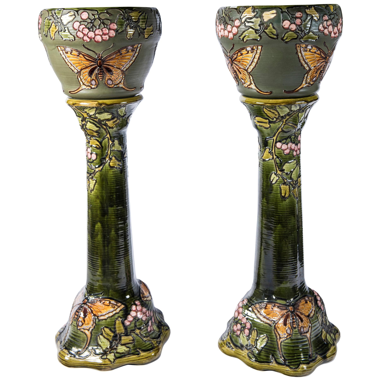 Pair of Enamel Ceramic Planters, Art Nouveau Period, France, circa 1900