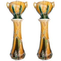 Pair of Enamel Ceramic Planters, Art Nouveau Period, France, circa 1900