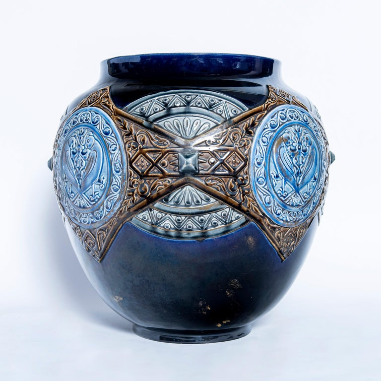 Islamic Pair of Enamel Ceramic Planters, France, Late 19th Century For Sale
