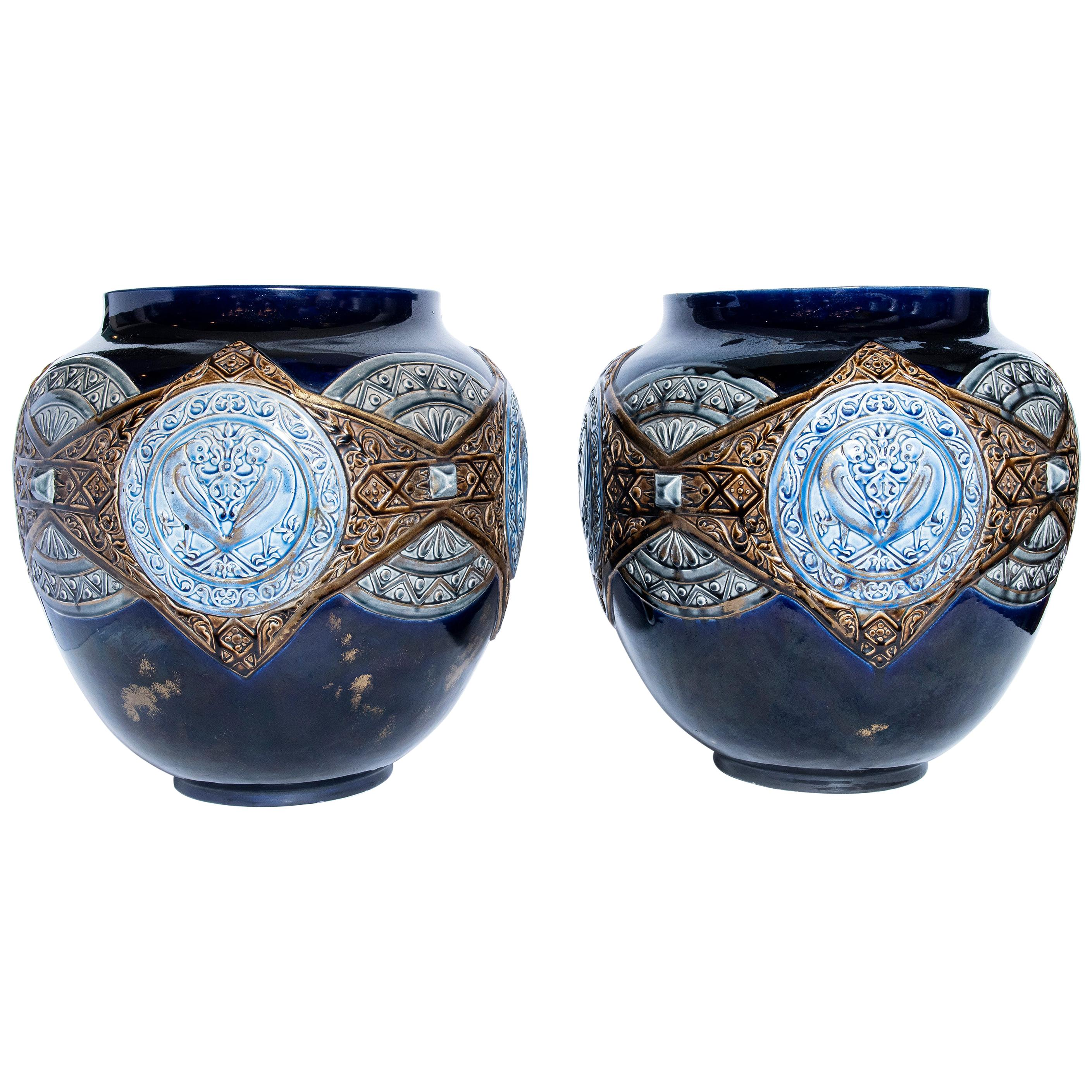 Pair of Enamel Ceramic Planters, France, Late 19th Century