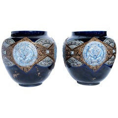 Pair of Enamel Ceramic Planters, France, Late 19th Century