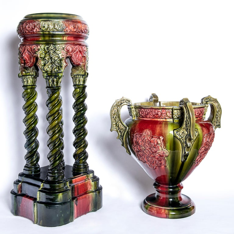 French Pair of Enamel Ceramic Planters Signed Lechenet, Nice, France, circa 1900 For Sale
