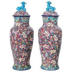 Pair of Enamel Ceramic Vases by Longwy, France, circa 1840