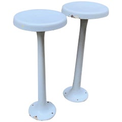 Pair of Enameled Iron Swivel Diner Stools